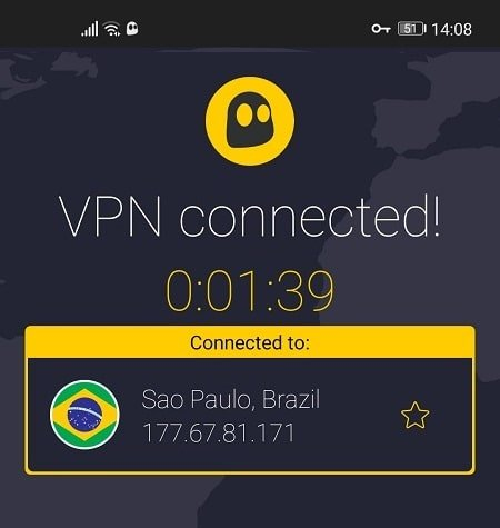 Connecting to CyberGhost Brazil Server