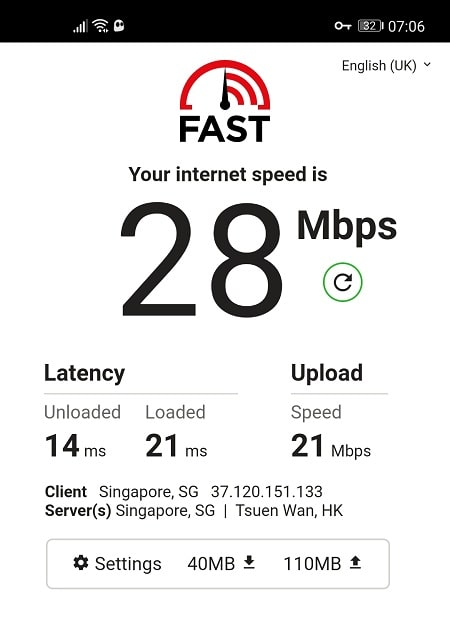Speed Test with CyberGhost