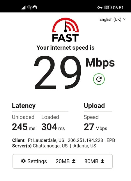 Speed Test with NordVPN