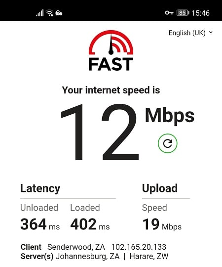 Speed Test with PIA from South Africa
