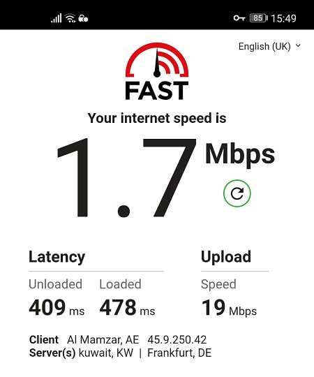 Speed Test with PIA from UAE