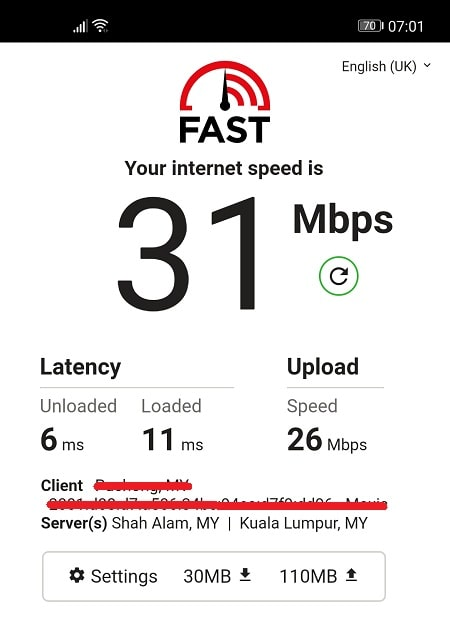 Speed Test without NordVPN