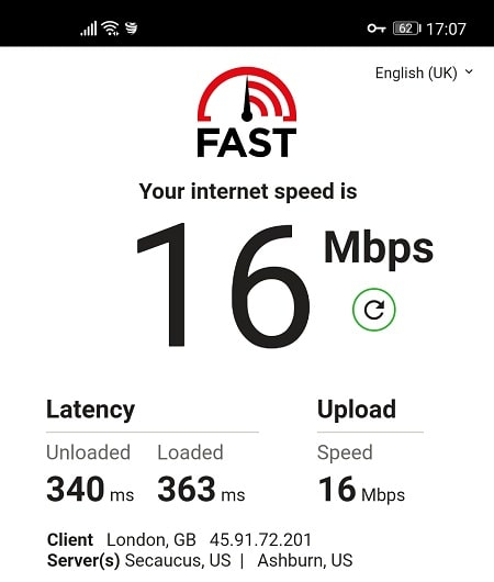 VyprVPN Speed Test from UK