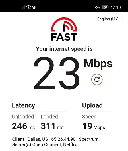 VyprVPN Speed Test from US