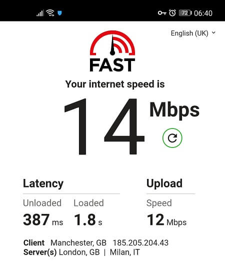 Speed Test from UK server with Hotspot Shield