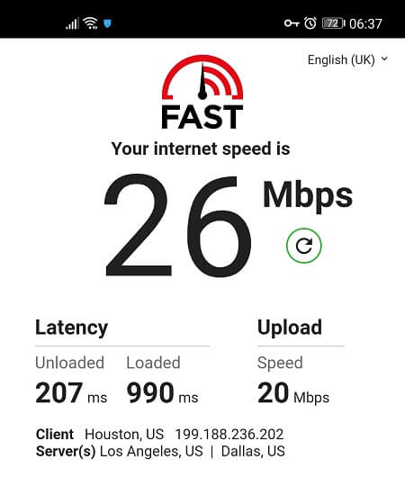 Speed Test from US server with Hotspot Shield