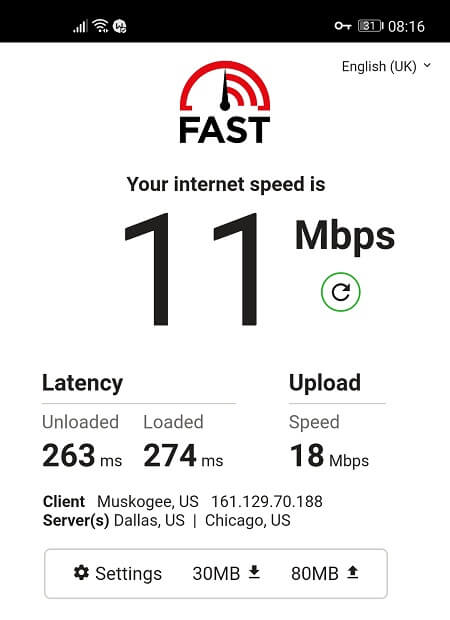 Speed Test with Windscribe